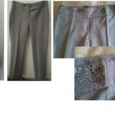 Sacou si pantalon de lana gri deschis cu broderie DEOSEBIT - Costum dama, Marime: 42