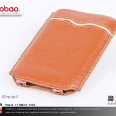 Husa Toc Piele Naturala Apple iPhone 4 4S Brown by Yoobao Originala - Husa Telefon Yoobao, Maro