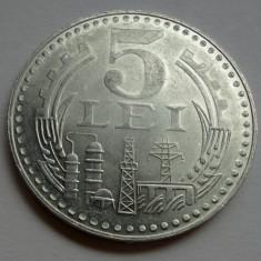 5 lei 1978 UNC luciu de batere varianta RARA - picior stang trepied mai scurt - Moneda Romania