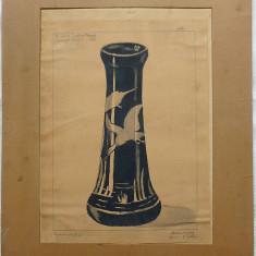 Vaza Art Deco - semnat Orszagos Kiallitasa 1928 - Pictor strain