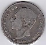 1.Spania 2 PESETAS 1882 argint 10 gr. 0.835,Alfonso XII, COTATIE RIDICATA