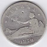 2.Spania 2 PESETAS 1870 argint 10 gr. 0.835, COTATIE RIDICATA
