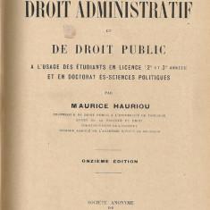 Maurice Hauriou - Precis de Droit Administratif et de Droit Public - 1927 - Carte Drept administrativ