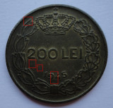 200 lei 1945 eroare batere - depuneri material - puncte material pe avers si revers