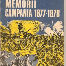 (C2030) MEMORII CAMPANIA 1877-1878 DE GENERAL AL. CERNAT, EDITURA MILITARA, BUCURESTI, 1976