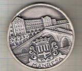 """C05 Medalie Manresa -1976 -Turneul Amicii ,,Trei seturi""""(tenis?)Spania- marime circa 50 mm -greutate aprox. 67 gr-starea care se vede"""