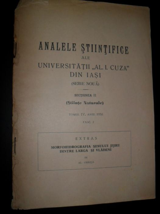 Al. Obreja - Morfohidrografia Sesului Jijiei dintre Larga si Vladeni , 1958