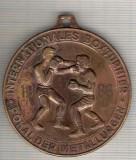 C04 Medalie Turneu International de Box -Cupa Metalurgistul -Germania(DDR)1983- marime circa 50x54 mm -greutate aprox. 61 gr-starea care se vede