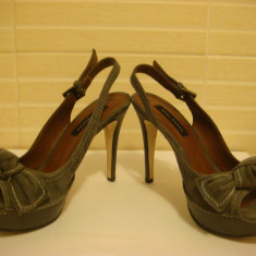 Sandale Zara Woman, masura 37, piele intoarsa - Sandale dama Zara, Culoare: Gri
