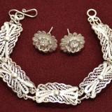 Set Argint bratara si cercei filigran