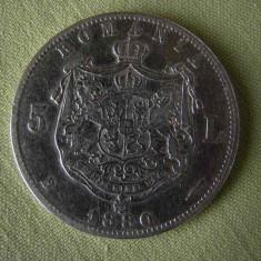 5 lei 1880 - 1 - Kullrich pe cerc - Moneda Romania