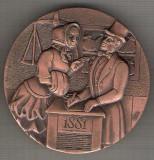 C64 Medalie comemorativa 1881-1981 -Banca Sabadell  -Spania -marime circa 60 mm -greutate aprox. 122 gr -starea care se vede