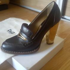 Pantofi D&G - Pantof dama D&G, Culoare: Maro, Marime: 36, Maro, Cu toc