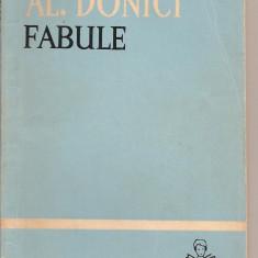 (C2072) FABULE DE AL. DONICI, EDITURA TINERETULUI, BUCURESTI, 1963 - Carte Fabule