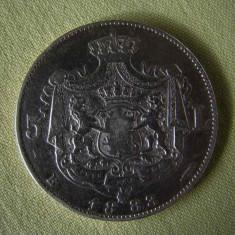 5 lei 1883 - Dreptunghi la Coroana - Moneda Romania