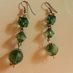 Cercei de dama, lungi, piatra verde, LICHIDARE DE STOC