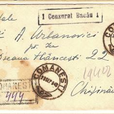 Plic cenzurat BACAU, 1943 si carte postala
