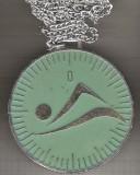 C149 Medalie  Natatie -Cupa Sperantelor 8-10 ani, 1981 -cu lantisor -marime circa 60x64 mm-greutate aprox. 29 gr total- starea care se vede