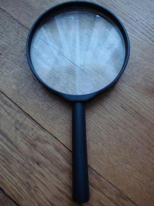 Lupa neagra lentila mare marire citire citit scris focal 3x 9 cm 90 mm in cutie
