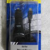 CS100  Incarcator de masina alimentator cablu spiralat Hama Classic pt BlackBerry si nu numai mufa USB mini universala