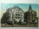 ORADEA MARE - HOTELUL VULTURUL NEGRU - ANIMATIE ,CALEASCA ,TRAMVAI - ANUL 1918