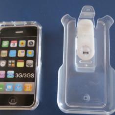 1304plu Mobile phone window hard case Hama Kickstand negru Apple iPhone 3G / 3GS toc telefon cu suport clips - Husa Telefon
