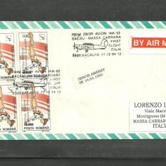 PRIM ZBOR BACAU - MASSA CU AVIONUL IAK-52, plic aerofilatelic, TIMBRU IN BLOC DE 4 cu EROARE