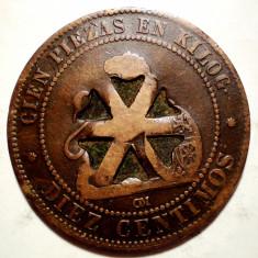 C.318 SPANIA 10 CENTIMOS 1870 CONTRAMARCA, Europa, Cupru (arama)