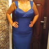 Rochie - Rochie de seara, Marime: 38, Albastru, Scurta, Cu bretele, Satin