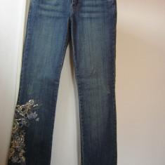 BLUGI dama pantaloni ORSAY casual club mas 36 S aplicatii paiete cusaturi flori, Marime: S, Culoare: Albastru, Lungi, Normala
