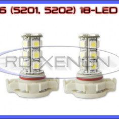 BEC AUTO LED LEDURI H16 5201, 5202 18 SMD - LOGAN PH2 DRL FAZA LUNGA PROIECTOARE - Led auto ZDM, Universal
