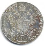 20 KREUZER 1827 E XF ARGINT AUSTRIA ARDEAL TRANSYLVANIA MONETARIA ALBA IULIA KARLSBURG
