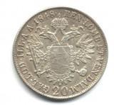20 KREUZER 1848 E VF++ ARGINT AUSTRIA ARDEAL TRANSYLVANIA MONETARIA ALBA IULIA KARLSBURG