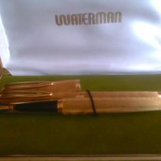 pix placat cu aur si stilou placat cu aur si penita din aur set waterman
