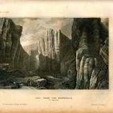 Pasul Pancorvo (regiunea Burgos) - Spania - Tipogravura - Meyers Universum 1833-1861 - Pictor strain