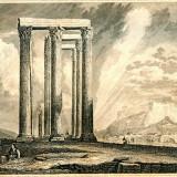Ruinele unui Templu din Atena - Grecia - Tipogravura - Meyers Universum 1833-1861 - Pictor strain