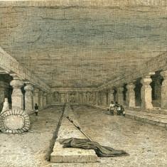 Pesterile din Ellora (India) - Tipogravura - Meyers Universum 1833-1861 - Pictor strain