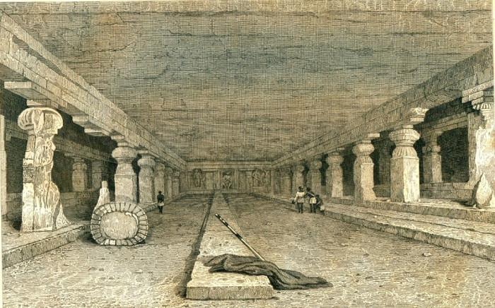 Pesterile din Ellora (India) - Tipogravura - Meyers Universum 1833-1861 foto mare