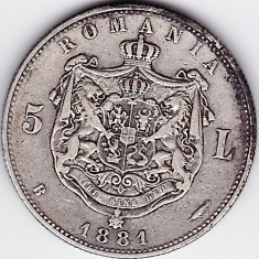 Romania, 5 LEI 1881, argint, DOMNUL - Moneda Romania