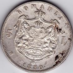 Romania, 5 LEI 1880, argint, KULLRICH pe cerc VF+ - Moneda Romania