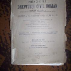 Principiile dreptului civil roman vol.3/an 1926- Dimitrie Alexandresco - Carte Drept civil