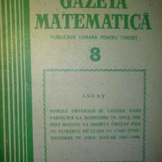 Gazeta matematica - Nr. 8 / 1983 , Anul LXXXVIII