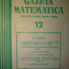 Gazeta matematica - Nr. 12 / 1983 , Anul LXXXVIII