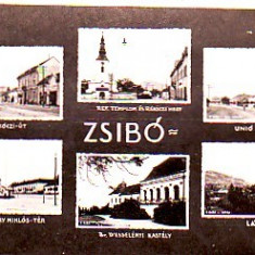 Romania, Jibou, carte postala multi circulata 1942: Strada, hotel, castel, biserica - Carte Postala Crisana pana la 1904, Fotografie