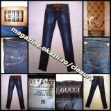 BLUGI firma brand GUCCI BLUE made in ITALY JEANS PRESPALATI DAMA CREION SKINNY PANA MULATI TALIE JOASA COLECTIE NOUA JEANSI FEMEI 100% BUMBAC - Blugi dama Gucci, Marime: 26, 27, 30, Culoare: Bleumarin, Lungi