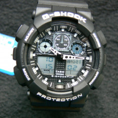 CASIO G-SHOCK GA-100-1A4ER BLACK&WHITE DESIGN-MADE IN JAPAN-MANUAL-POZE REALE - Ceas barbatesc Casio, Sport, Quartz, Cauciuc, Alarma, Analog & digital