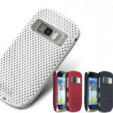 Husa mesh alba pentru nokia c7 silicon rigid antiradiatii + folie protectie ecran - Husa Telefon