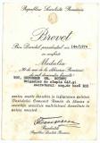 846 - BREVET, Medalia 30 de ani de la eliberarea Romaniei semnat de CEAUSESCU