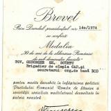 846 - BREVET, Medalia 30 de ani de la eliberarea Romaniei semnat de CEAUSESCU - RAR - Ordin/ Decoratie