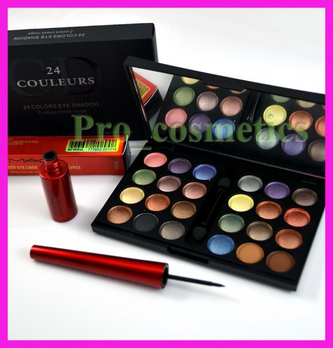 Trusa machiaj profesionala 24 culori Dior 03 farduri mate sidefate pigmentate rezistente + CADOU Eyeliner MAC Waterproof tus de ochi negru foto mare